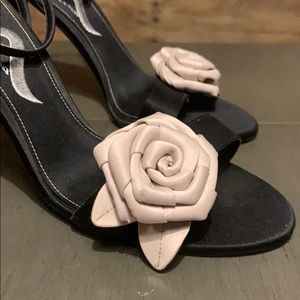 Black Strappy Heels with Rose Detail